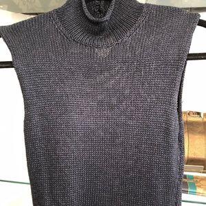 CHANEL Sleeveless Navy Blue Turtleneck Sweater Top